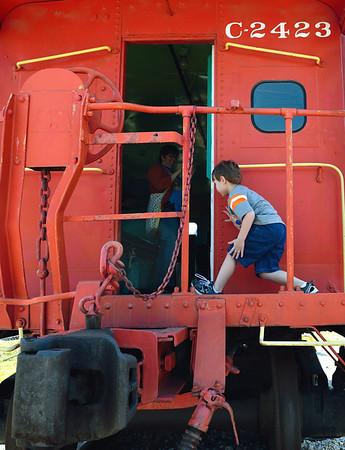 Little kid sneaks aboard the train - B&O Roundhouse