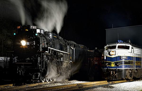 Steam Vs. Diesel - Night Shots of the 765 Steam Engine