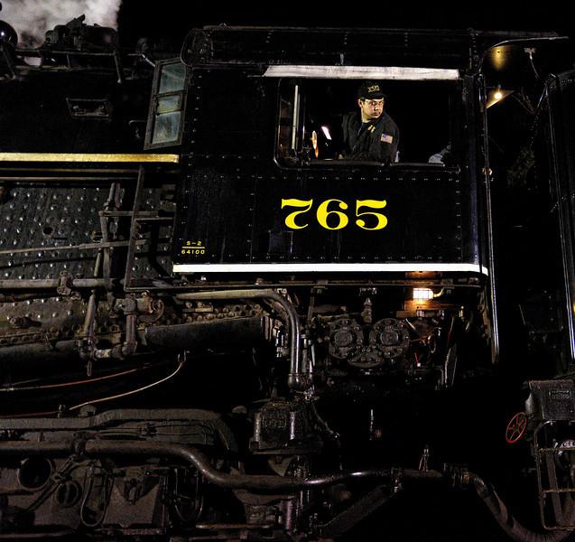 Engineer on the 765 Steam Engine - Night Shots of the 765 Steam Engine #2