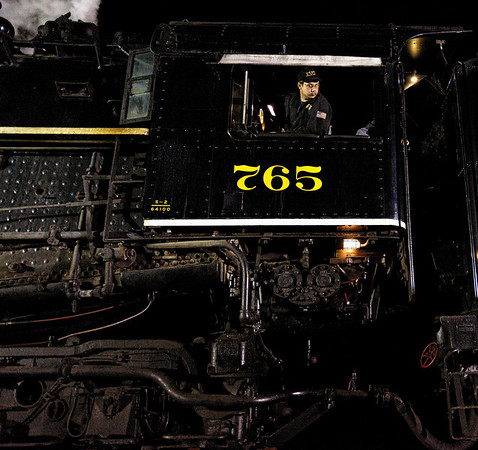 Engineer on the 765 Steam Engine - Night Shots of the 765 Steam Engine #2