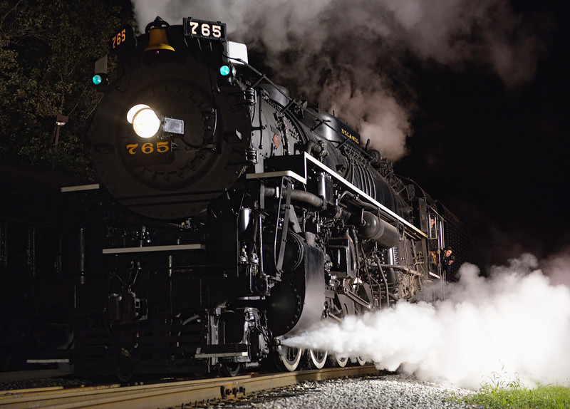 Run by of the 765 Steam Engine - Night Shots of the 765 Steam Engine