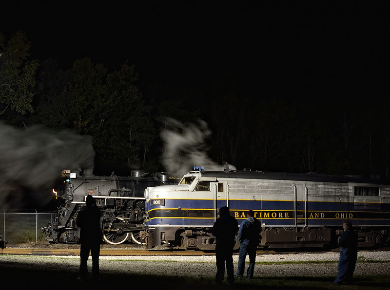 Photographers taking Night Shots of the 765 Steam Engine