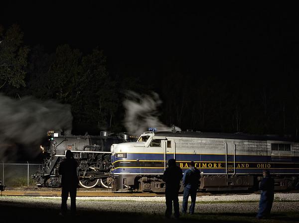 Photographers taking Night Shots of the 765 Steam Engine