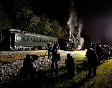 Photographers at the Night Shoot of the 765 Steam Engine