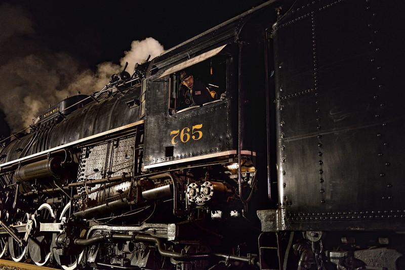 Engineer on the 765 Steam Engine - Night Shots of the 765 Steam Engine
