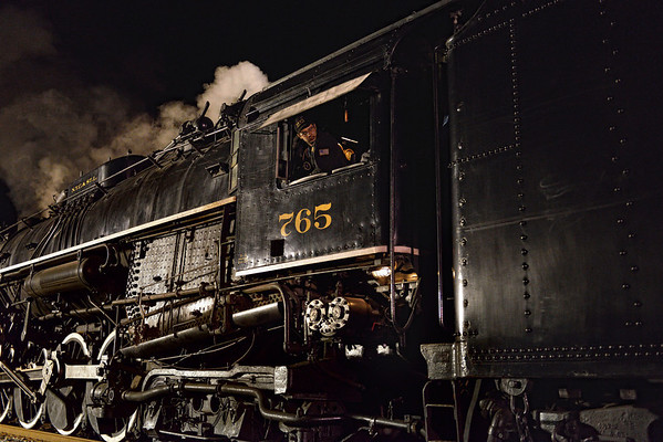 Engineer on the 765 Steam Engine - Night Shots of the 765 Steam Engine
