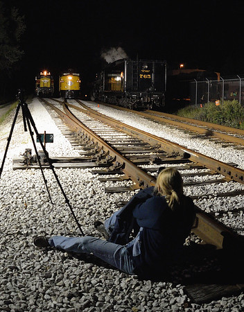 Photographer getting a shot - Night Shots of the 765 Steam Engine