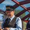 Conductor in Silver Vista Car on Durango & Silverton Narrow Gauge Railroad train ride.