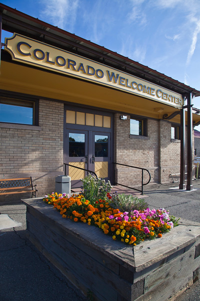 Colorado Welcome Center and Train Depot at Alamosa, Colorado. Scenic train rides on the Denver and Rio Grande Narrow Gauge Railroad are available here.