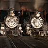 1925 Baldwin Steam Locomotives at night JN067364