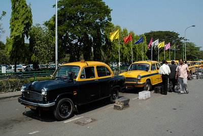 The famous Amabassador car. Many of them are still in use as taxi / cabs as seen at Kolkata Airport.