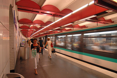 Speeding train in the subway in Paris, France.