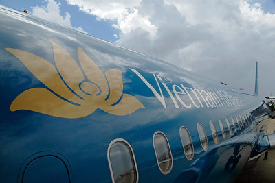 Vietnam Airlines plane taking us to HCMC (Ho Chi Min City), Vietnam
