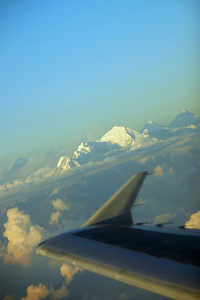 In flight view of the Himalayas flying from Kathmandu, Nepal to Delhi, India.