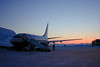 B737-700 at LYR<br /> Braathens B737-700 at Svalbard Airport, Longyear (LYR/ENSB). Daylight is about to return in march, after the long winter night.