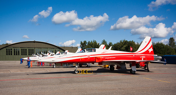 F-5E's 7 Patrouille Suisse Northrop F-5E Tiger II's parked on the tarmac at Rygge Air Show 2009