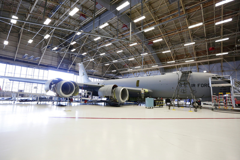 A KC-135 sits in a hangar during maintenance at Fairchild Air Force Base, Wash., Monday, July 17, 2017. (Young Kwak/The Inlander)