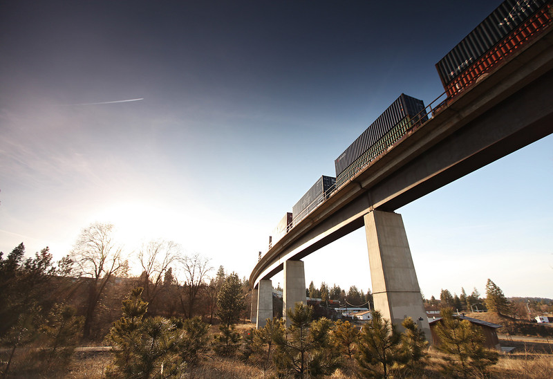 A train enters Spokane, Wash. from the west end of the city on Wednesday, March 7, 2012. (Young Kwak Special to the Pacific Northwest Inlander)
