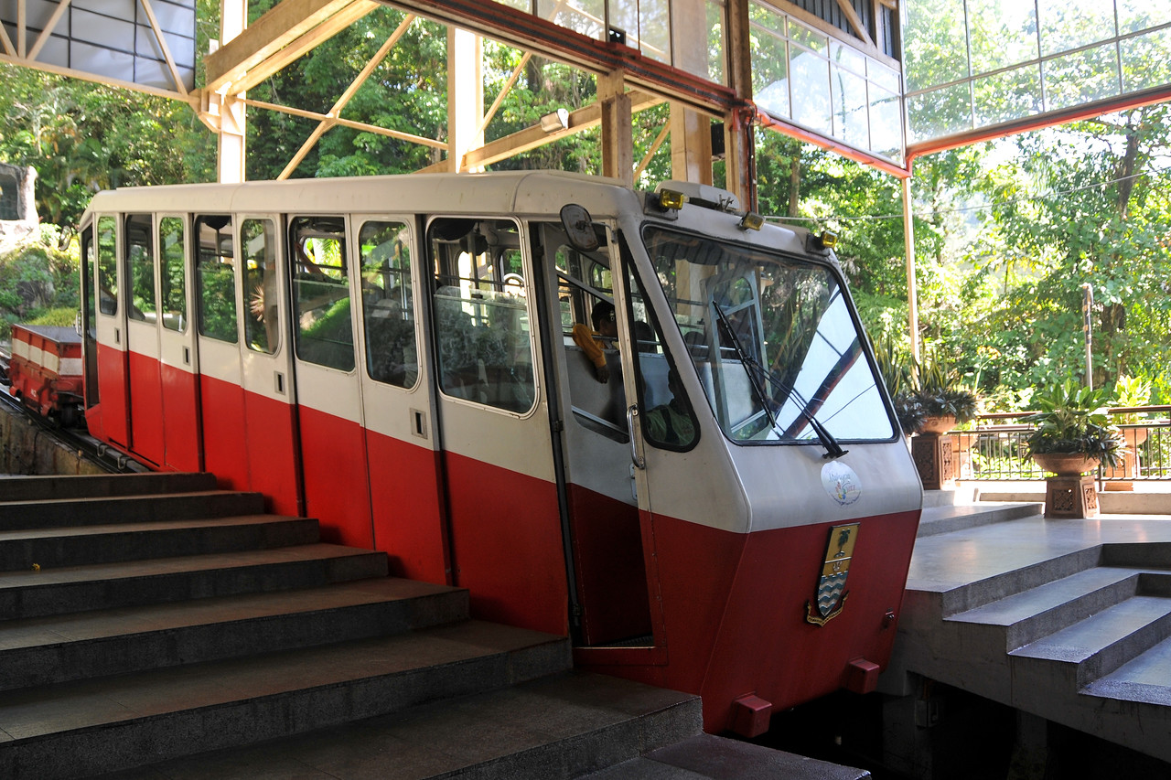 Bukit Bendera - the Penang Hill (Bukit Bendera) is 830 meter high (2,750 foot) and it's much cooler than in the city below (George town). The funicular at the railway station takes you to the top and it will cost you RM4.50 for one way. The funicular railway will not take you straight to the top, you have to change trains halfway. George Town, Penang, Malaysia.
