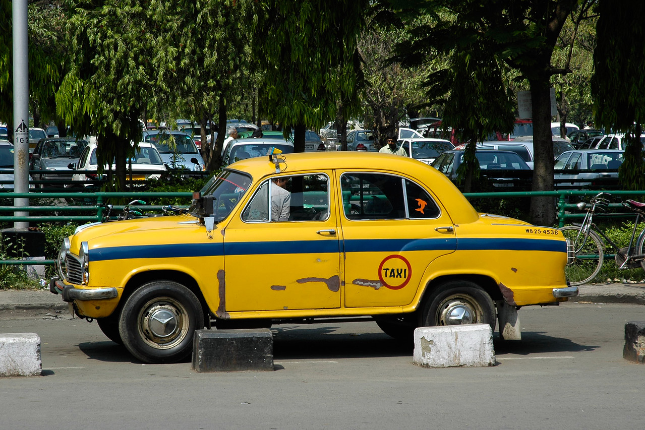 The famous Amabassador Taxi Cabs as seen at Kolkata Airport.
