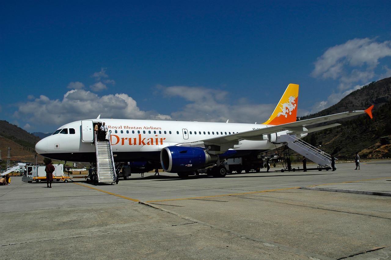 Royal Bhutan Airlines - DrukAir with its new Airbus plane at the Paro Airport in Bhutan.