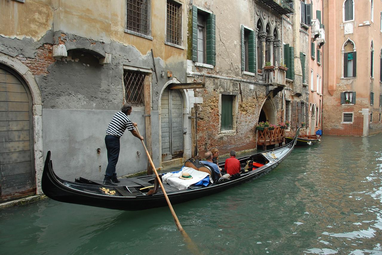 Moving within Venice on the gondolas. Italy
