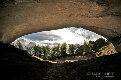Looking out of the Caverns near Torres Del Paine, Chile