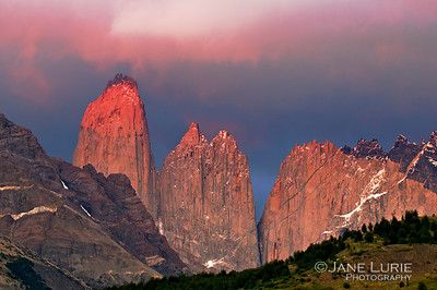 5:17 AM Sunrise at the Towers, Torres Del Paine, Chile