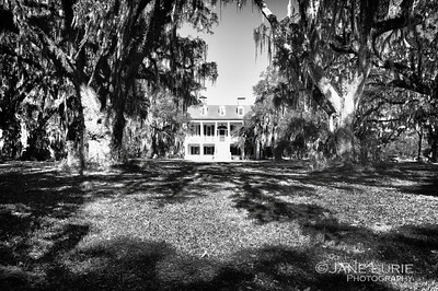 The front view of the antebellum mansion.