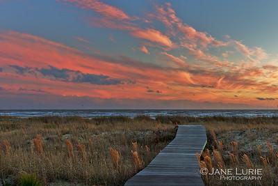 Sunset and Boardwalk, Kiawah Island