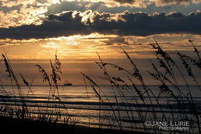 Sunrise and Shrimp Boat. Kiawah Island, SC