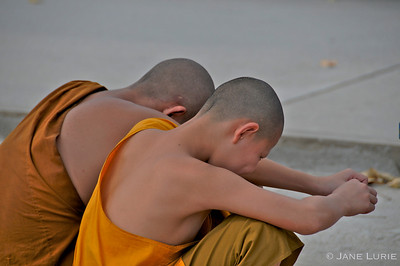 Shy monks in Chiang Mai, Thailand.