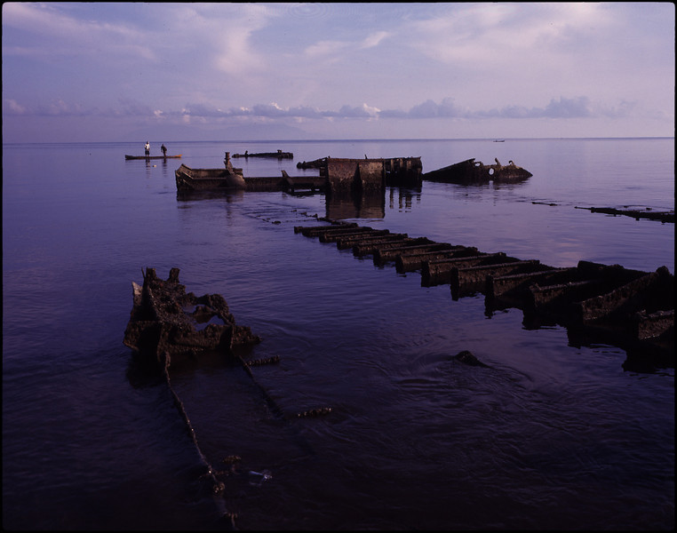 Relics of 1975 Indonesian landing craft. Dili harbour.