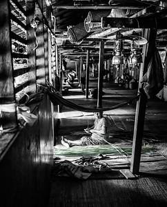Iban Woman Basket Weaving