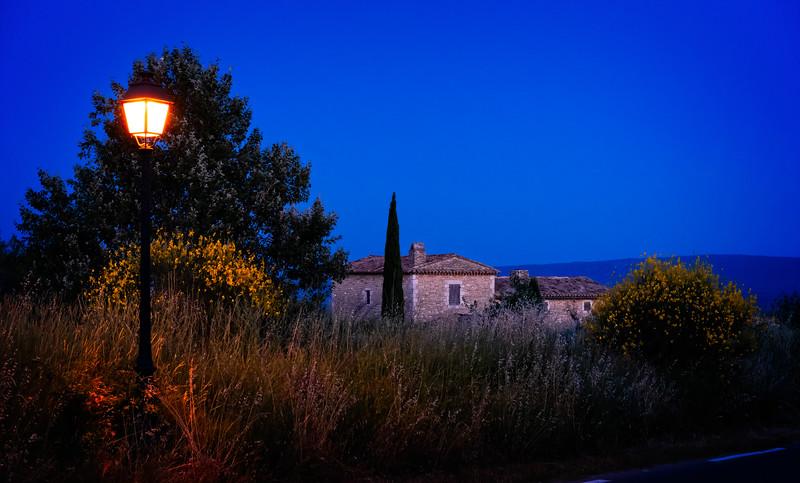House on a hill at dusk