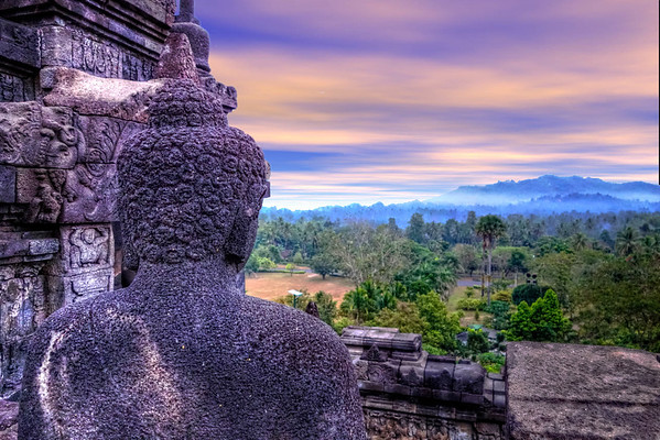 Budda Looking Out Sunset