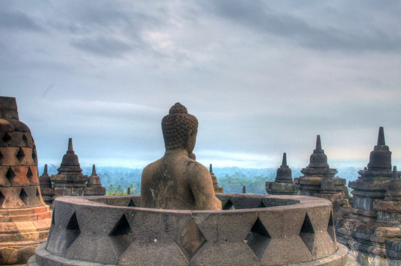 Open Budda at Borobudur
