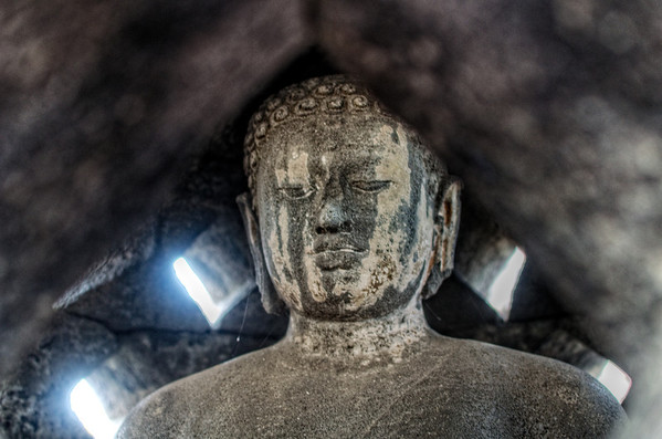 Painted Budda Head in Stupa