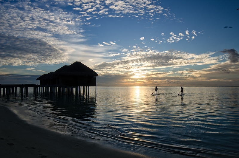 Maldives Standing Paddle Sunset