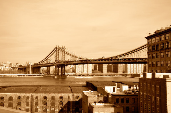 Manhattan Bridge from Brooklyn Birdge Sepia