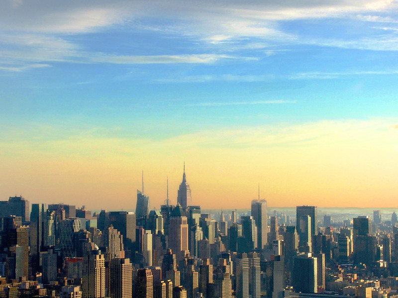 Manhattan at Sunset from Helicopter