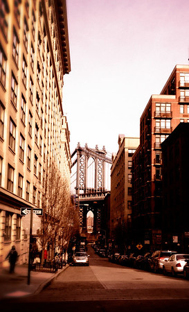 Manhattan Bridge from Down Under Manhattan Bridge Overpass (DUMBO). This was the location of the 1984 movie poster for the film Once Upon A Time in America starring Robert DeNiro and James Woods.