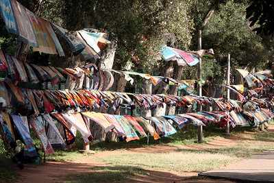 Batiks blow in the wind at an open market in Maputo, Mozambique.