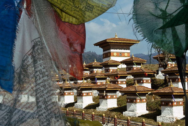 Prayer flags and stupas