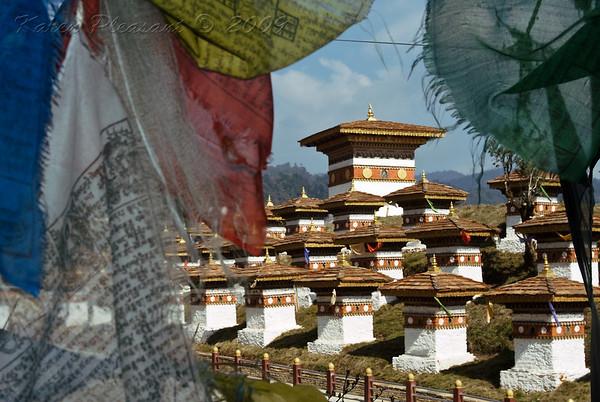 Prayer flags and stupas