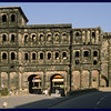 IM walking Zonker near Porta Nigra (Black Gate), a 2nd century Roman city gate.