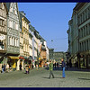 IM walking Zonker in old city of Trier with Porta Nigra visable in the distance at the end of the street.