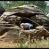 IM squeezed into a donut hole in a sandstone concretion.
