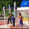 Kids Enjoying the Fountain in 94 degree Heat