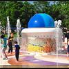 Kids enjoying the fountain in 94 degree heat.